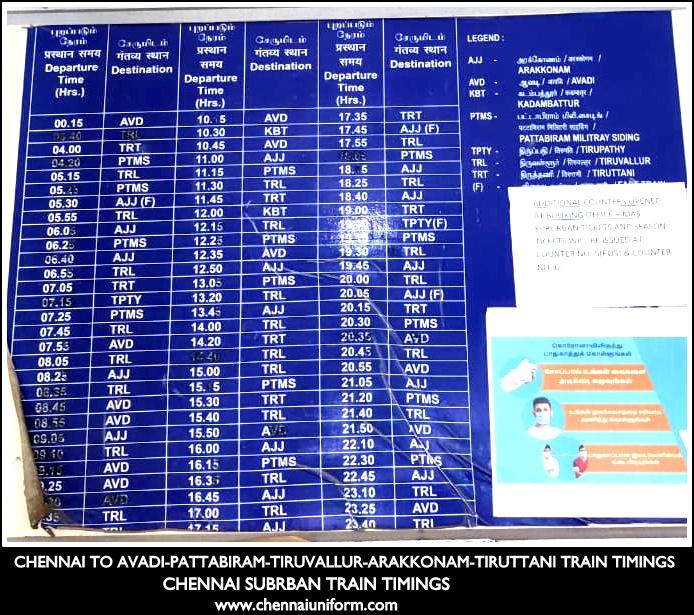 CHENNAI TO ARAKKONAM ROUTE SUBURBAN TRAIN TIMINGS