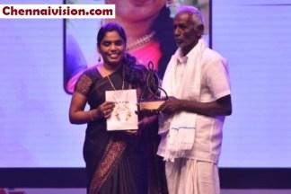 Mr. C. Kuppan, Father of Uma Devi - Writer, Poet and a Lyricist receiving the Femina Super Daughter Awards (2)