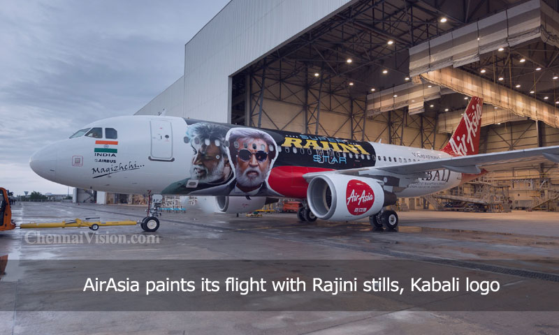 AirAsia paints its flight with Rajini stills, Kabali logo