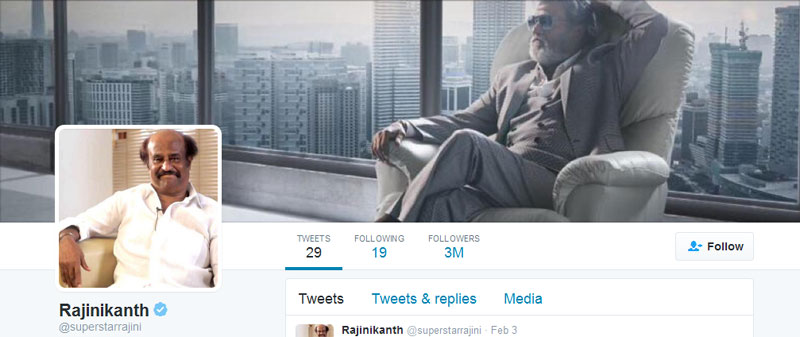 Rajini crosses 3 million followers on Twitter
