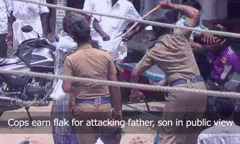 Cops earn flak for attacking father, son in public view