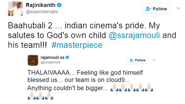 Baahubali 2 Rajini's message and Rajamouli's reply