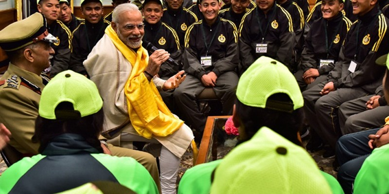 PM's interaction with ITBP excursion groups of students from Sikkim and Ladakh
