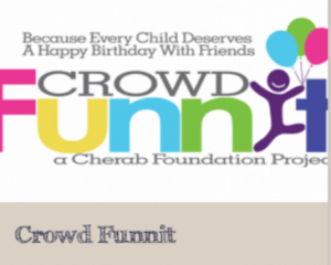 """crowdFunnit.org """"Because every child deserves a happy birthday with friends"""""""