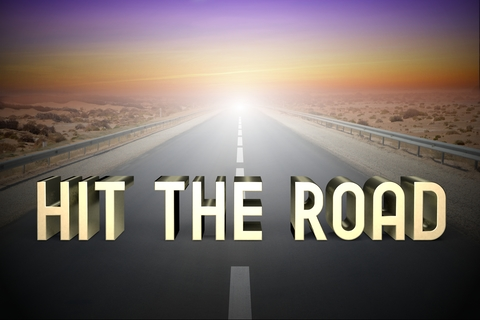 Hit the road concept, road - 3D rendering