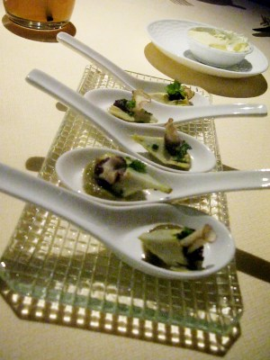 Artichoke spoon sampler, Bradley Ogden, Las Vegas.
