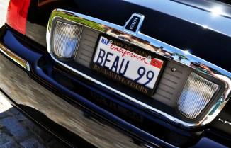 Beau Wine Tours limo license plate.