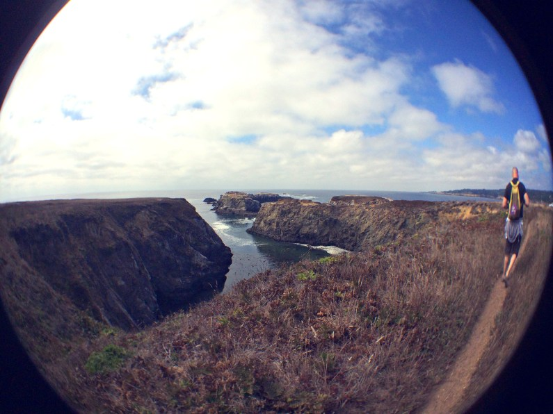 A fisheye shot of the sea in the Mendocino Headlands.