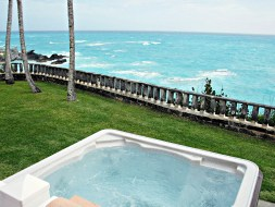 Our hot tub overlooking the Atlantic, on the south shore of the island.