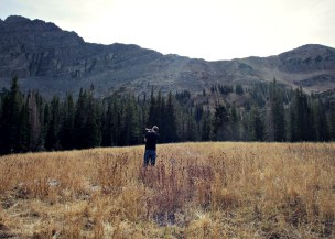 Photographing in a meadow, about 45 minutes from Park City.