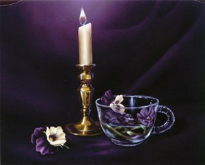 Candlelight and Pansies by Cheri Rol