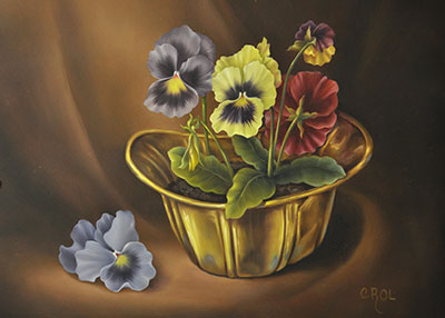 Learn how to paint these beautiful pansies and a shiney brass bowl in Cheri Rol's online classroom.