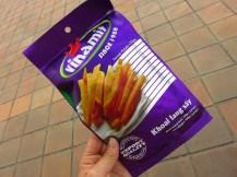Sweet potatoes chips, zo enorm hard en vet - je proeft veelal het vet.