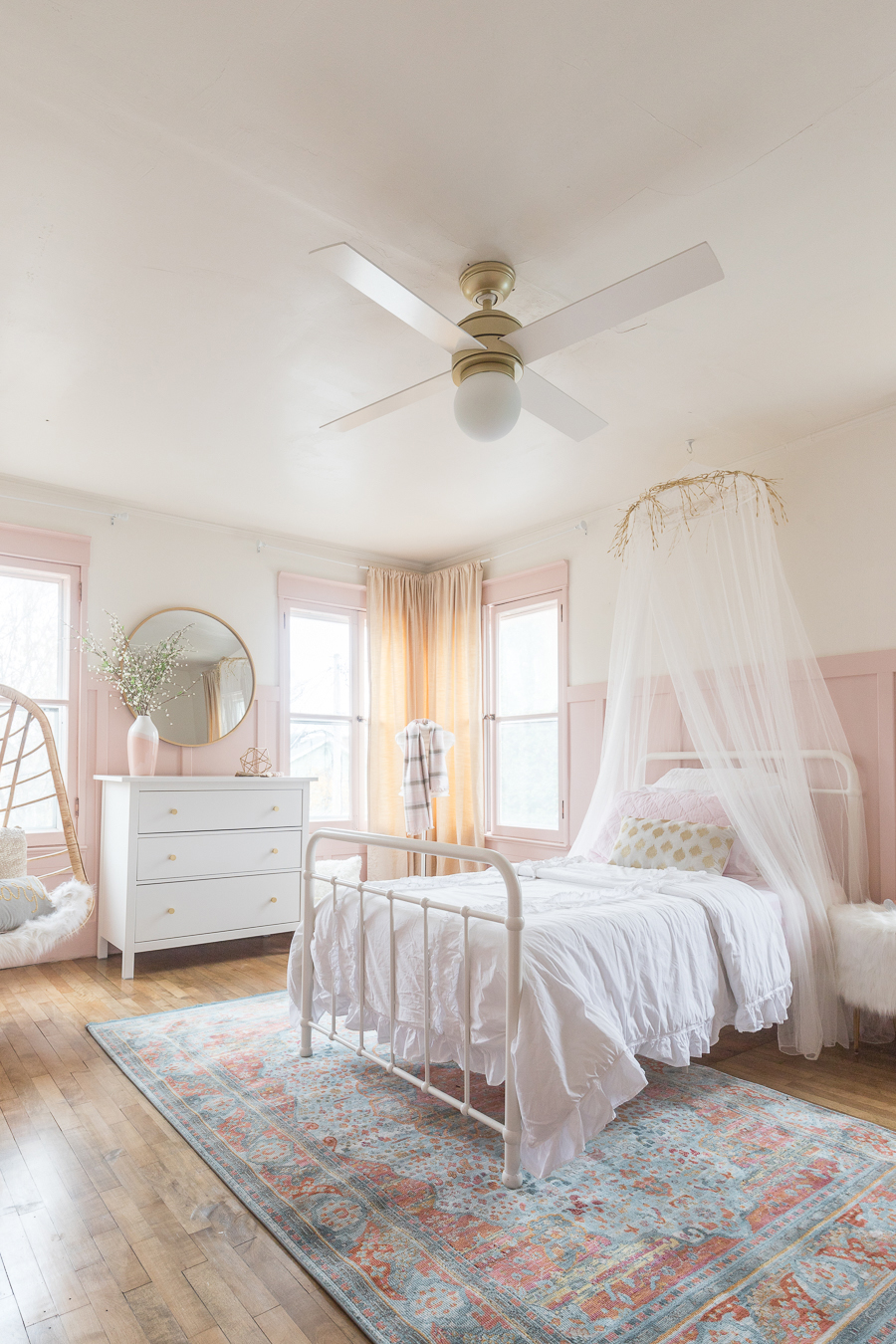 pink gold girls bedroom decor ideas