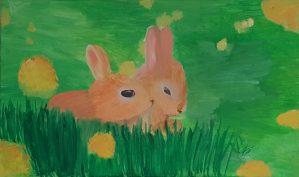 "Maya, ""Rabbits"", Oil on Canvas"