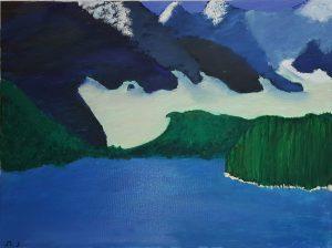 "Noa, ""Snowy landscape"", Oil on Canvas"