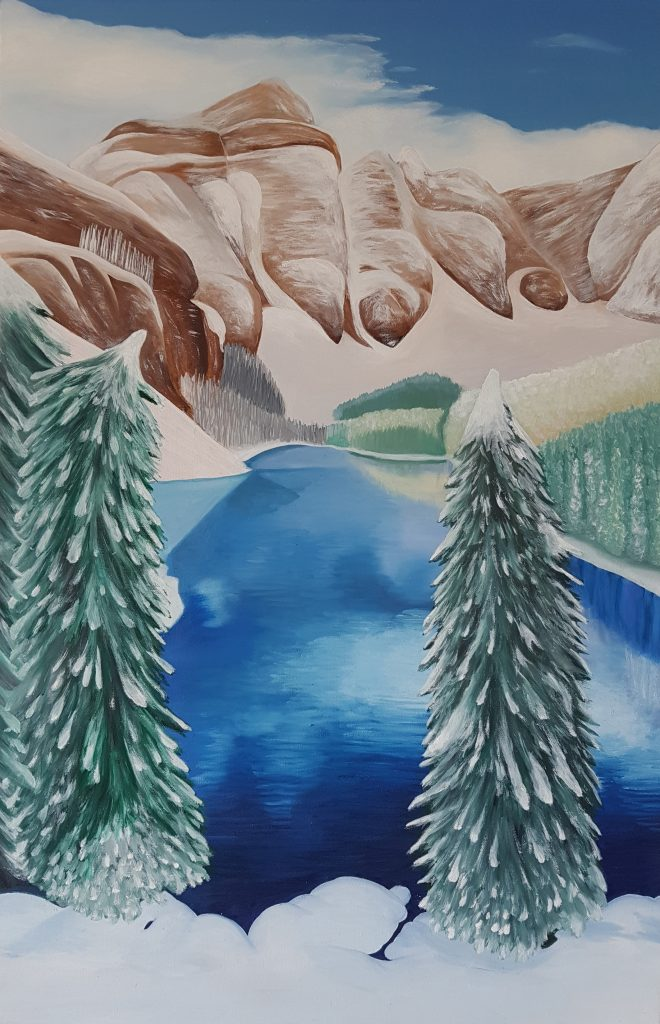 """Sophy Cherkov, """"Snowy Mountains"""", Oil on Canvas"""