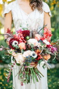 Combining marsala and pink creates an eye-catching bouquet.