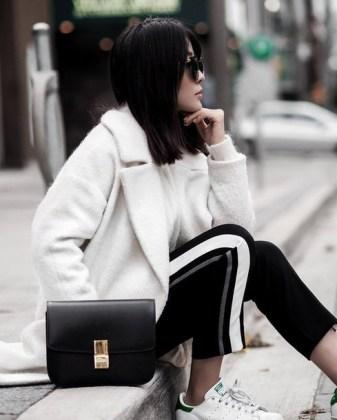 8ni0lr-l-610x610-pants-tumblr-stripe+pants-black+pants-sneakers-low+sneakers-adidas+shoes-adidas-white+sneakers-bag-black+bag-white+sweater-sweater-coat-white+coat-fuzzy+coat-white+fluff