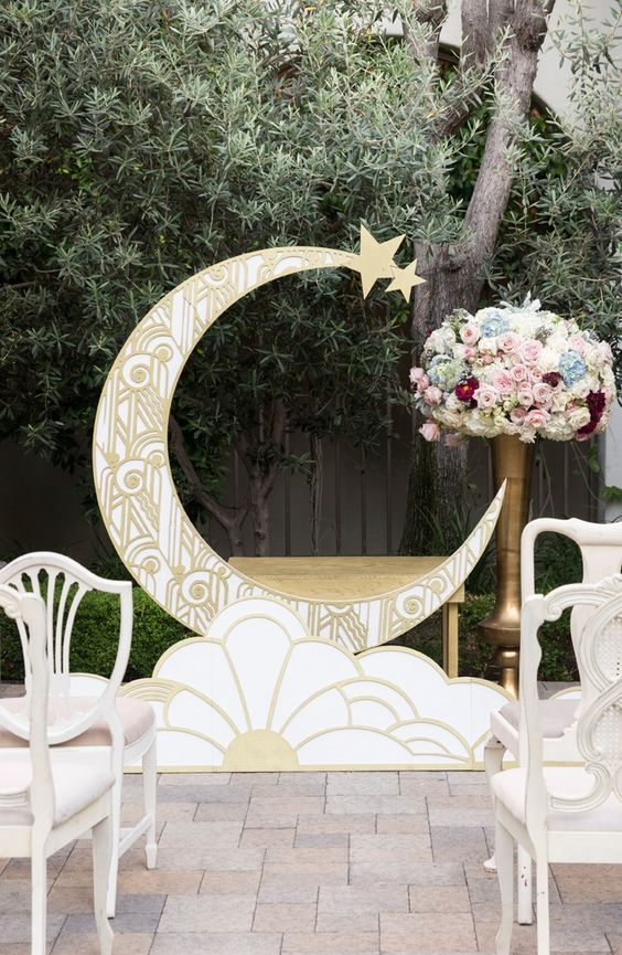 Art Deco Paper Moon Wedding Backdrop