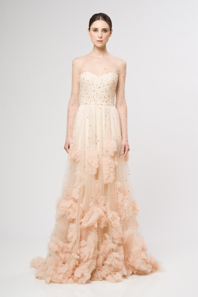 reem acra blush sparkle dress