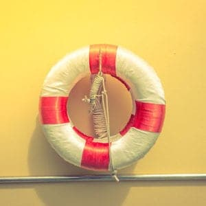 Lifebuoy at the Swimming pool ( Filtered image processed vintage effect. )