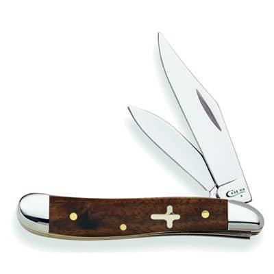 English Walnut Smooth Gold Wood Cross Shield Peanut