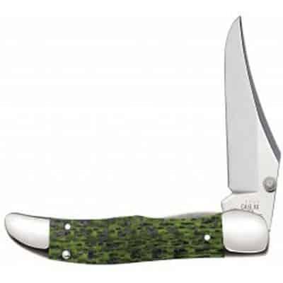Green and Black Carbon Fiber Weave - Kickstart Mid-Folding Hunter - Pocket Clip