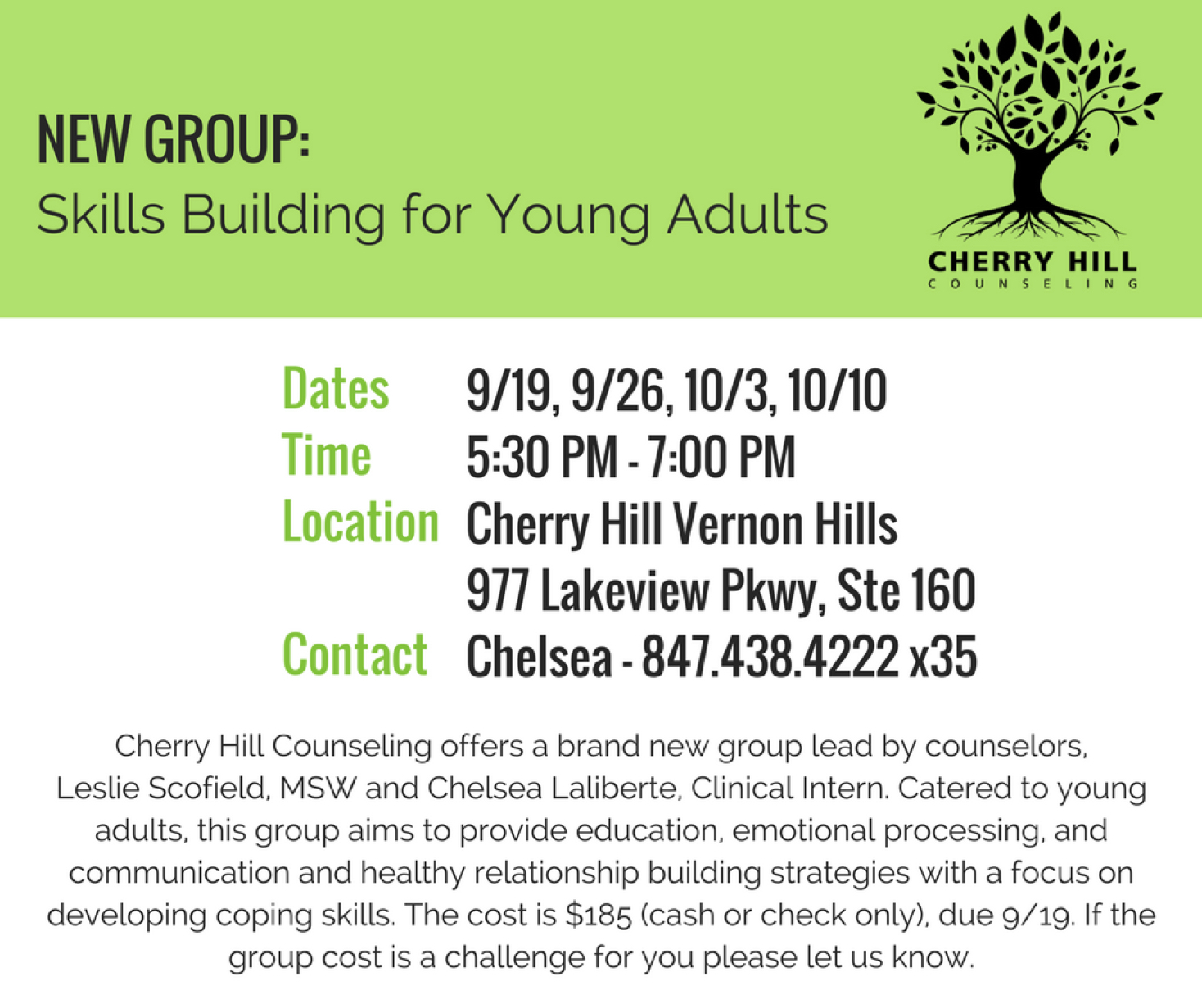 New Group Skill Building For Young Adults