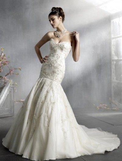 lace mermaid wedding dress with cathedral train