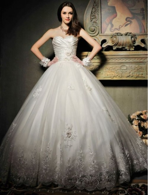 lace ball gown wedding dress from organza