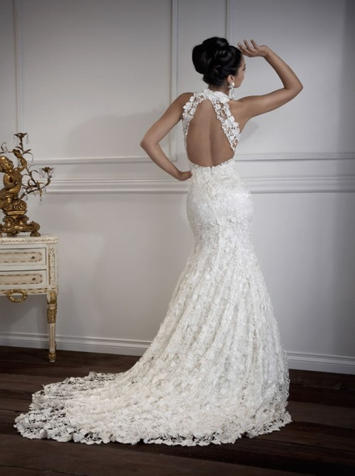 lace mermaid wedding dress with open back