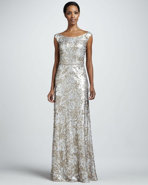 silver champagne sequin long wedding guest dress