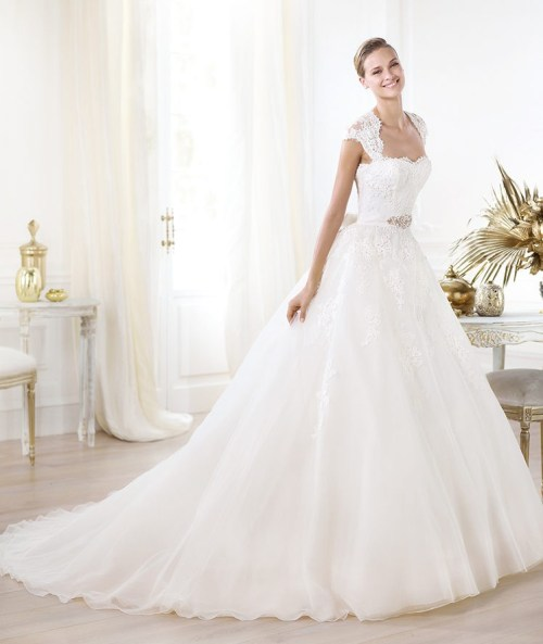 square satin ball gown wedding dress with chapel train