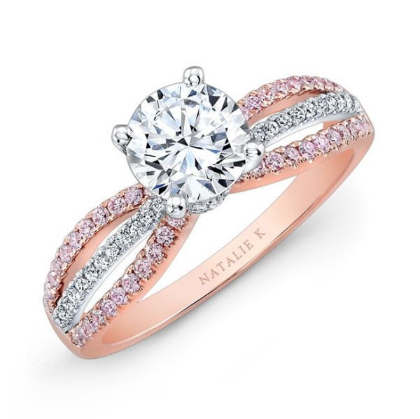 rose gold and white gold wedding rings