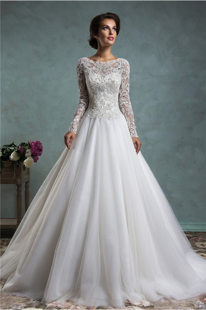 a line lace princess wedding dress with sleeves