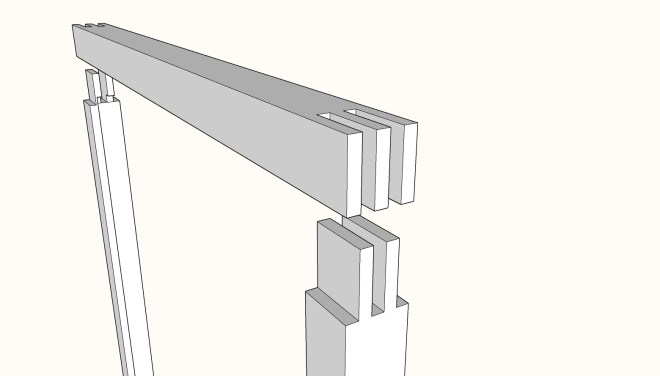 Bridle joint in window sash