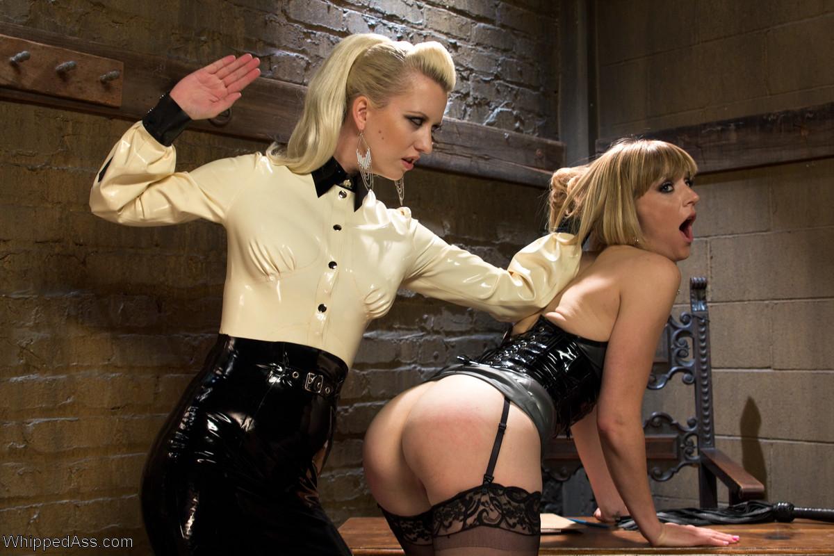 image Lezdom domina nipple punishes tall blonde sub