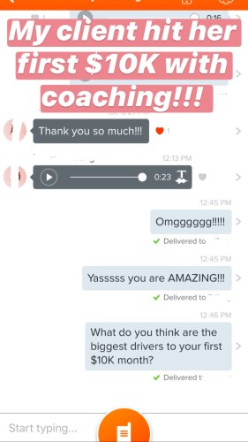 "Testimonial: ""My client hit her first $10K with coaching!!!"""