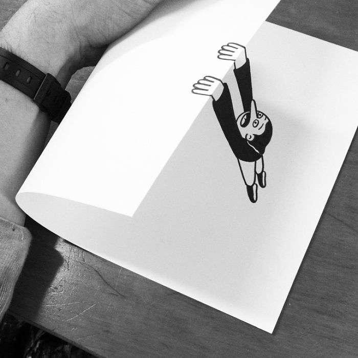 Талантливый художник использует 3D-трюки, чтобы оживить свои рисунки