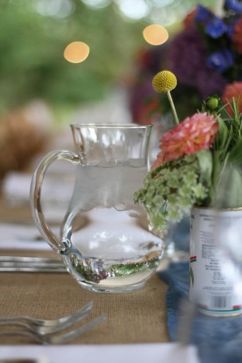 wedding, water jug, tablescape