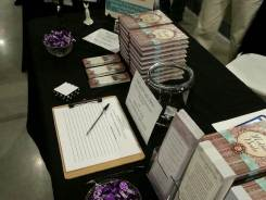 My table at bridal fairs. Of course, I include a little dark chocolate!