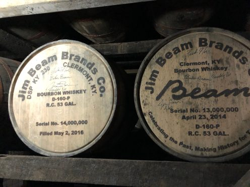 Bourbon Tour casks at Jim Beam