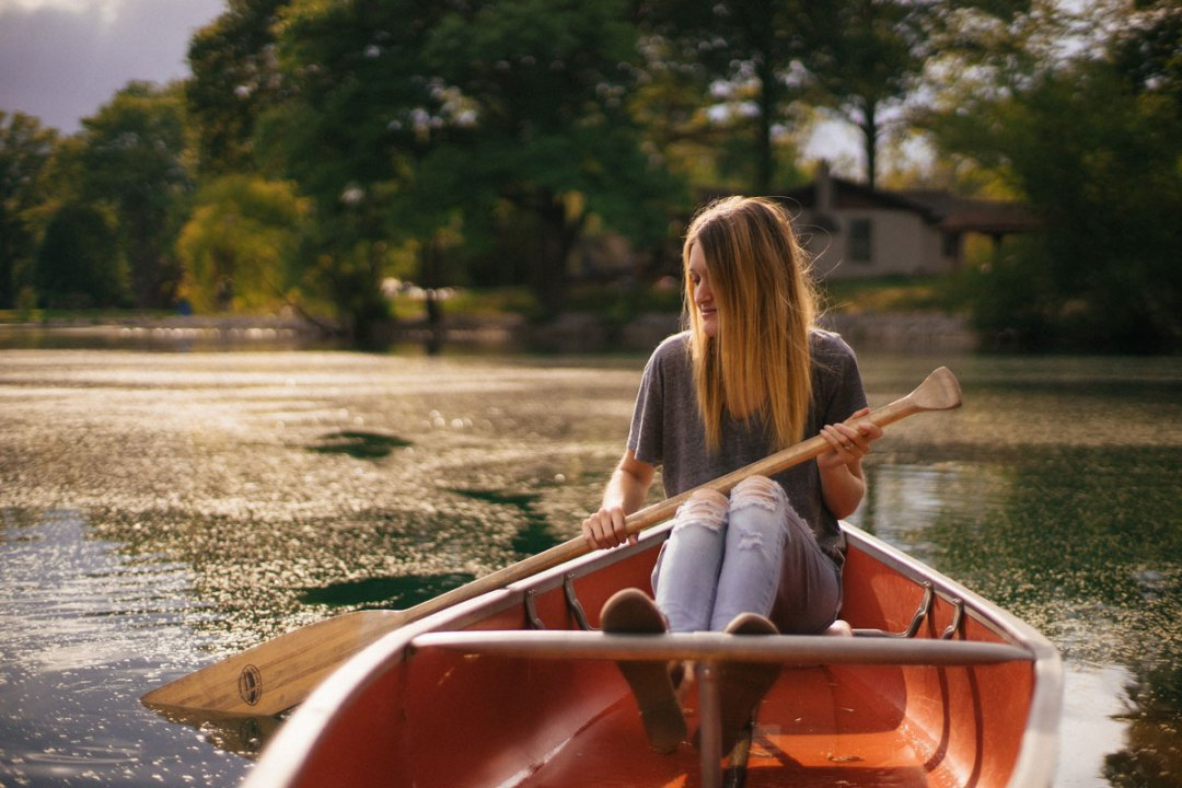 Girl on a canoe