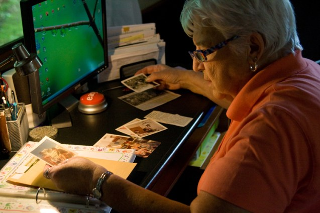 At Senior College, Fleurette teaches a memoir writing class. She is also working on her own memoir. Looking at old photographs is an excellent way to trigger memories and get the writing to flow, according to Fleurette.