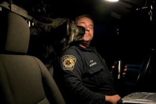 While police work can be stressful and the hours long, just like any dog Baron can be counted on to add some levity to Kevin's night.