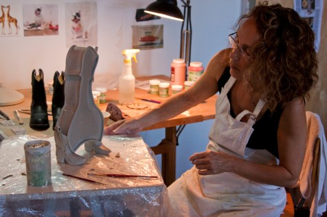 """Meryl chooses to create teapots because they are the most challenging functional vessel a ceramic artist can make with as many as five distinct components. """"I do everything the hard way. The easy way is not an option in my brain,"""" Meryl says."""