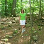 Cheryl walking labyrinth in the woods of Rolling Ridge Retreat Center in No. Andover, MA on solstice day, 2011