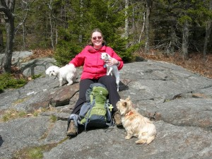 Kim with Juniper, Cindy and Pixie on south ledges North Pack Monadnock April 22, 2011