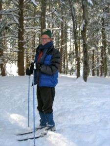 Bill, writer from Brooklyn at Vermont studios Center February 2011, cross country skiing
